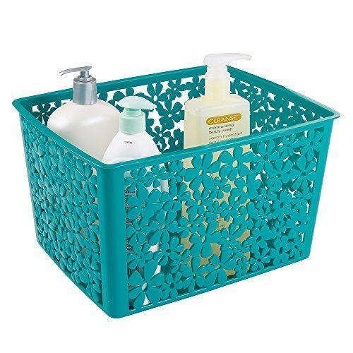 MDesign Floral Bathroom Vanity Organizer Bin For Health And Beauty