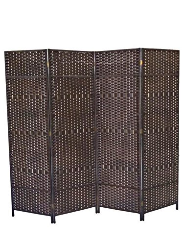 6 Ft Tall Solid Frame Fabric Room Divider 4 Panels: Urnporium Woven 4 Panel Room Divider With Solid Wood Frame